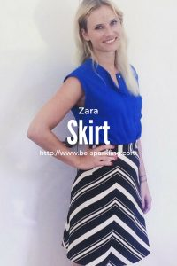 zara, skirt, fashion, outfit, fashion blogger, miriam ernst, blond girl, blue top, fashion blog