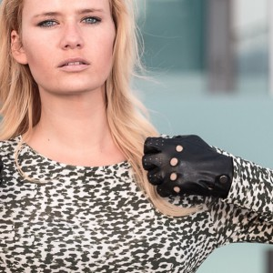 miriam ernst, model, naulover, dress, green, leopard, print, leather, gloves