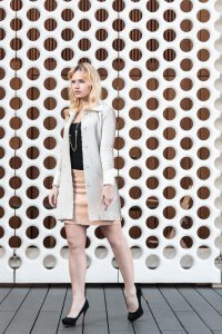 sequins, miriam ernst, fashion blogger, menchen tomas, jacket, skirt, peach, zara, one ocean club, bar, blonde girl