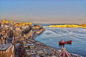 Malta, city, sea, port, sunset, travel 2016