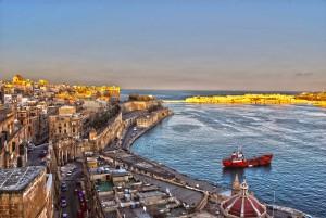 Malta, city, sea, port, sunset, travel 2016