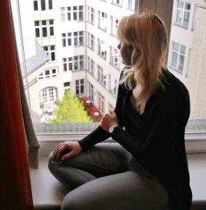 Adina Apartment Hotel, berlin, checkpoint charlie, view, black shirt, blonde girl