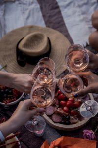 Rosé, Wein, mit Freunden, beisammen