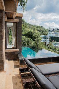 Phuket,Paresa Resort, Thailand, Pool, Hotelroom, View, blue, water, wood, interior