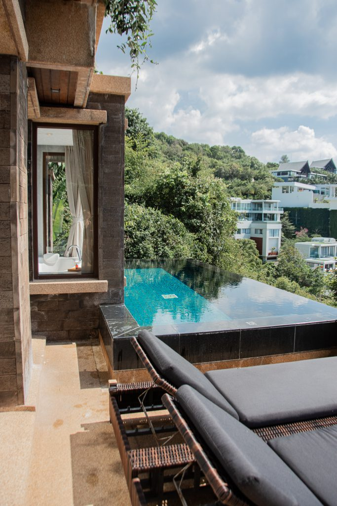 Phuket,Paresa Resort, Thailand, Pool, Hotelroom, View, blue, water, wood, interior