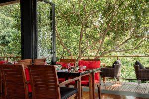 Thailand, phuket, restaurant, outside, red, wood, chair, table, food, nature, green, trees, Phuket
