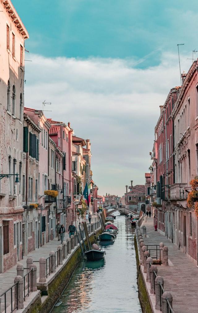 Italy, Venice, Gondolas, Boats, Water, Houses, Flags